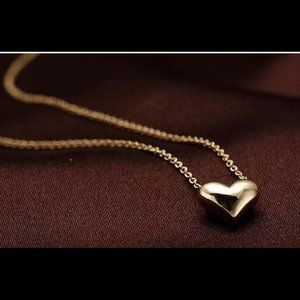 Jewelry - Puffy Gold Heart Clavicle Necklace